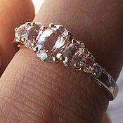 """Серебряное кольцо с натуральными морганитами """"Принцесса Мозамбика"""""""