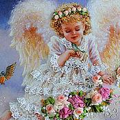 """Картины и панно ручной работы. Ярмарка Мастеров - ручная работа """"Цветочный ангел"""". Handmade."""