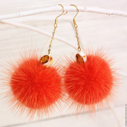 """Серьги ручной работы. Ярмарка Мастеров - ручная работа. Купить Серьги """"брызки янтаря"""" красно-оранжевые. Handmade. Рыжий, оранжевый"""