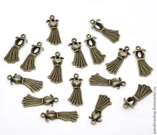 Вечернее платье 22х10 мм, цвет античная бронза, подвеска металлическая 3D - 30.00