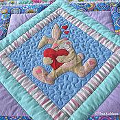 """Для дома и интерьера ручной работы. Ярмарка Мастеров - ручная работа Лоскутное одеяло для мальчика """"С зайчиком"""". Handmade."""