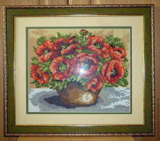 Картины цветов ручной работы. Ярмарка Мастеров - ручная работа. Купить Маки в корзине. Handmade. Ярко-красный, цветы, багет