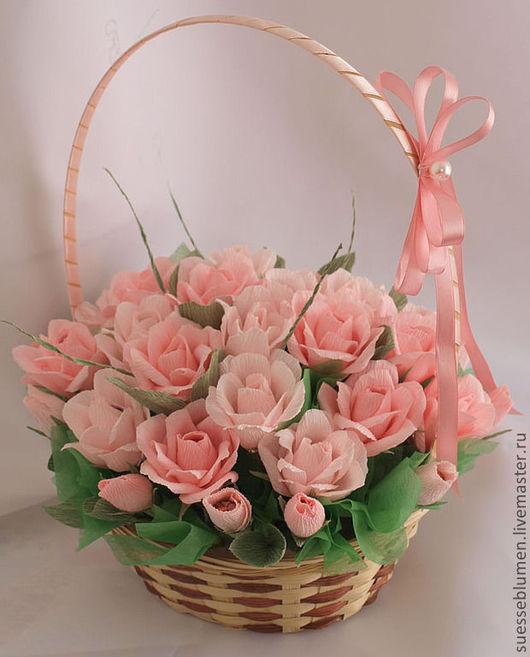 Букеты ручной работы. Ярмарка Мастеров - ручная работа. Купить Розы в корзинке. Handmade. Бледно-розовый, подарок на день рожденье