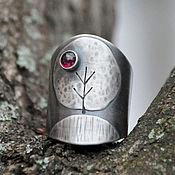 Украшения handmade. Livemaster - original item Ring - wide (925 silver, garnet). Handmade.