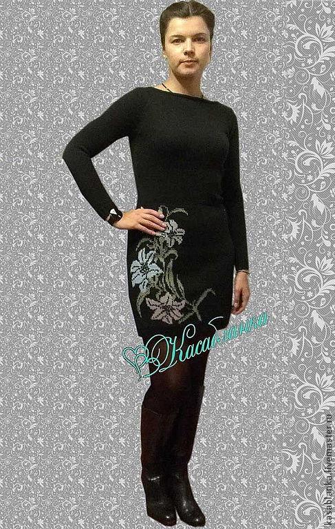 """Платья ручной работы. Ярмарка Мастеров - ручная работа. Купить Вязаное платье""""Лилии"""". Handmade. Черный, вязаное платье, молодежный стиль"""