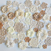 Материалы для творчества handmade. Livemaster - original item A large set of knitted flowers 60 PCs Mix. Handmade.