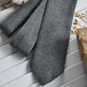 Аксессуары ручной работы. Ярмарка Мастеров - ручная работа Галстук мужской Темно-серый шерстяной / галстук Классика. Handmade.
