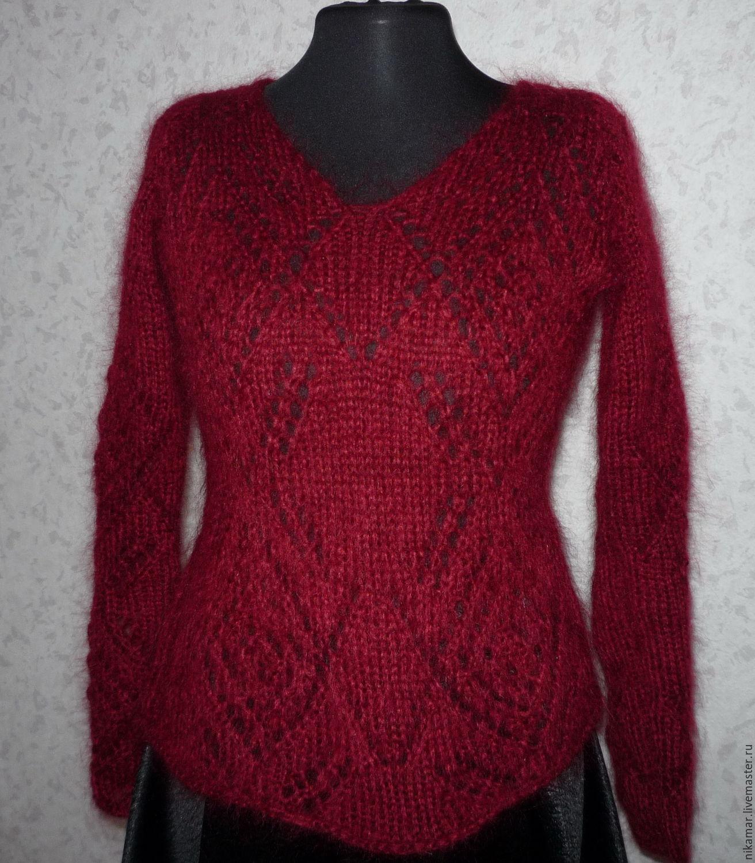 Мохеровый ажурный пуловер