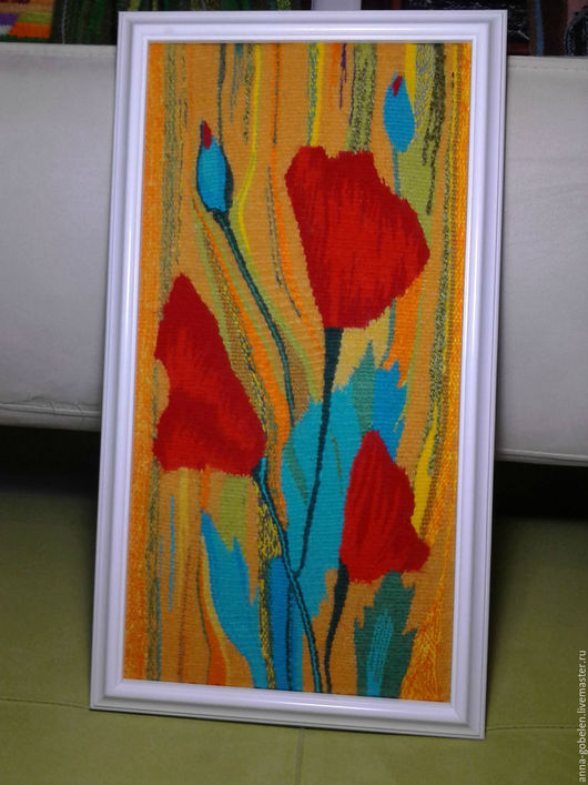 Картины цветов ручной работы. Ярмарка Мастеров - ручная работа. Купить Панно-гобелен Маки. Handmade. Комбинированный, панно
