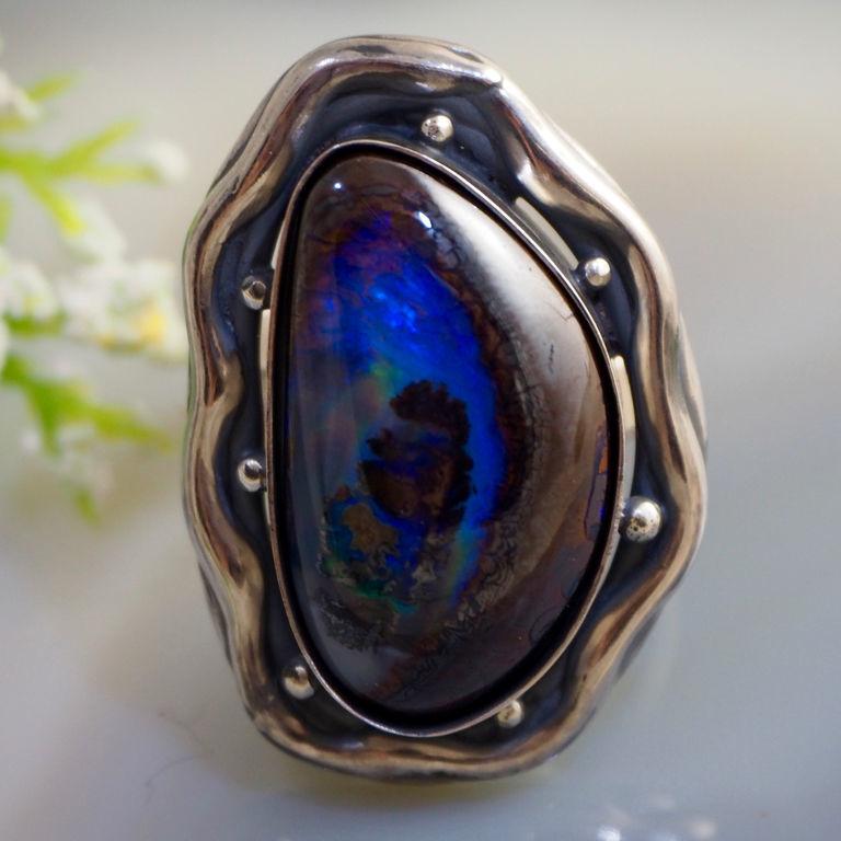 Copy of Ring Australian Boulder Opal Ring Sterling Silver Jewelry, Rings, Prague,  Фото №1
