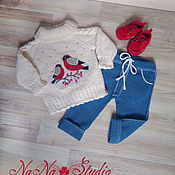 Работы для детей, handmade. Livemaster - original item Knitted sweater Snegiri and knitted pants jeans. Handmade.
