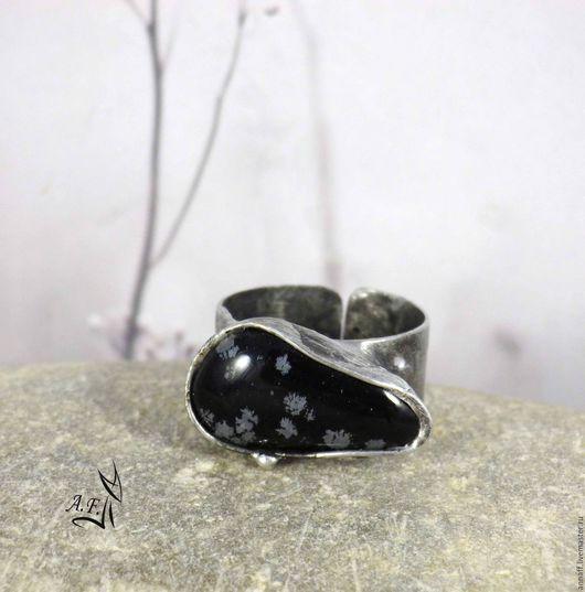 """Кольца ручной работы. Ярмарка Мастеров - ручная работа. Купить """"Ночь, одуванчики..."""" - кольцо со снежным обсидианом. Handmade."""
