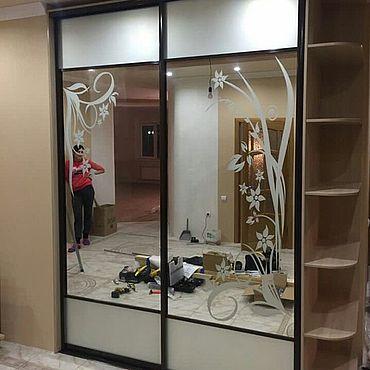 Мебель ручной работы. Ярмарка Мастеров - ручная работа Шкаф-купе зеркальный с рисунком. Handmade.