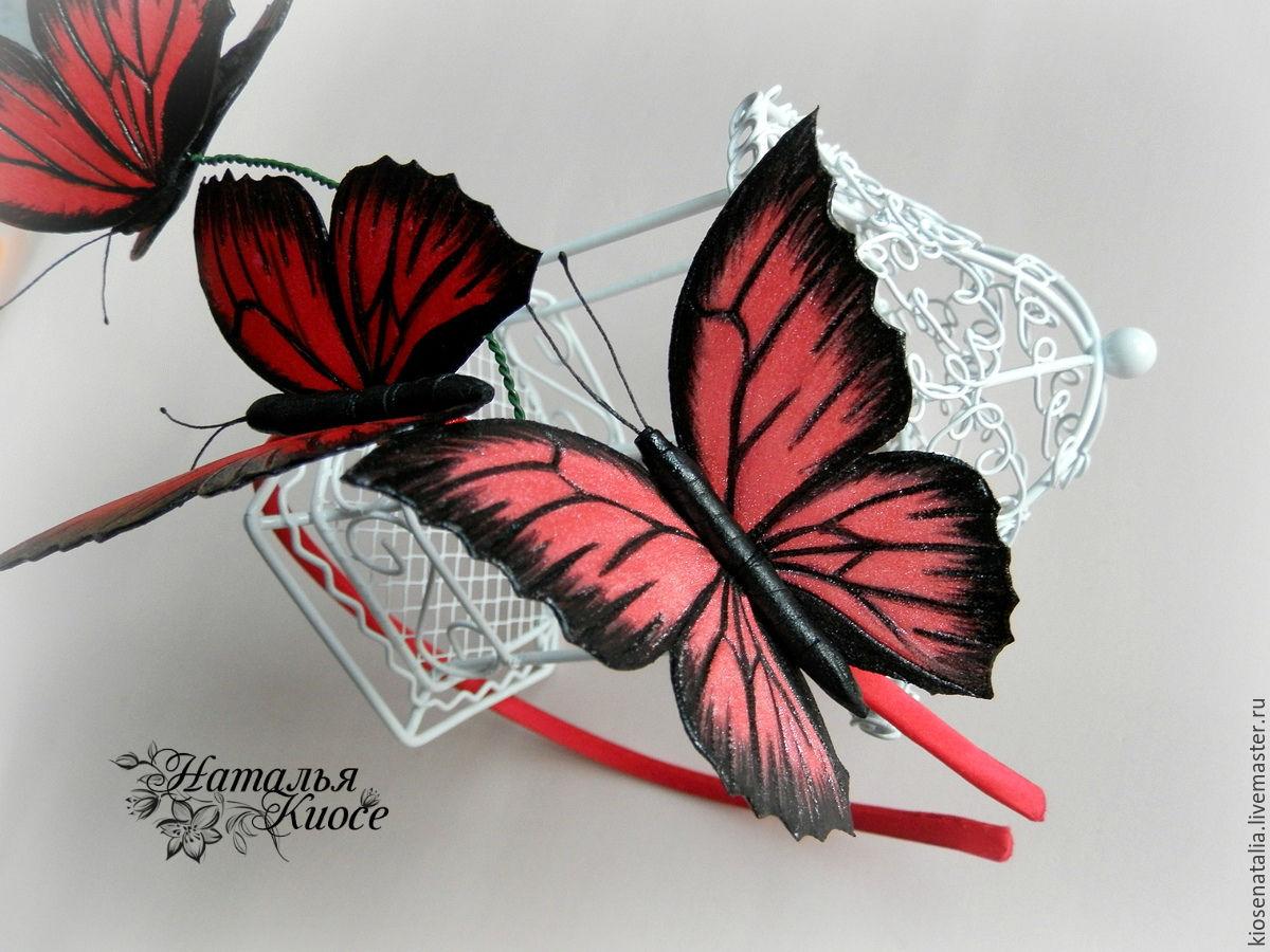 Ободок с бабочками своими руками