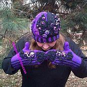 Шапки ручной работы. Ярмарка Мастеров - ручная работа Шапка и варежки *Фиолетовый Вечер*.. Handmade.