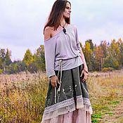 """Одежда ручной работы. Ярмарка Мастеров - ручная работа Длинная юбка """"Дикие Травы""""  Двойная юбка бохо. Handmade."""
