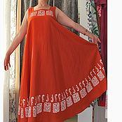 Одежда ручной работы. Ярмарка Мастеров - ручная работа Сарафан оранжевый из смесовой ткани с ручной верховой набойкой. Handmade.