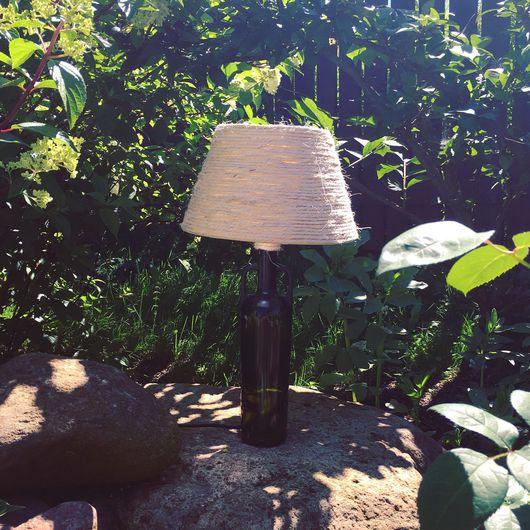 Освещение ручной работы. Ярмарка Мастеров - ручная работа. Купить Настольная лампа. Handmade. Светильник, handmade, бутылка, канат, стекло