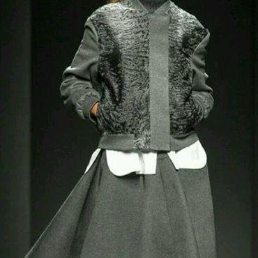 Одежда ручной работы. Ярмарка Мастеров - ручная работа Куртка-бомбер из каракуля и шерсти. Handmade.