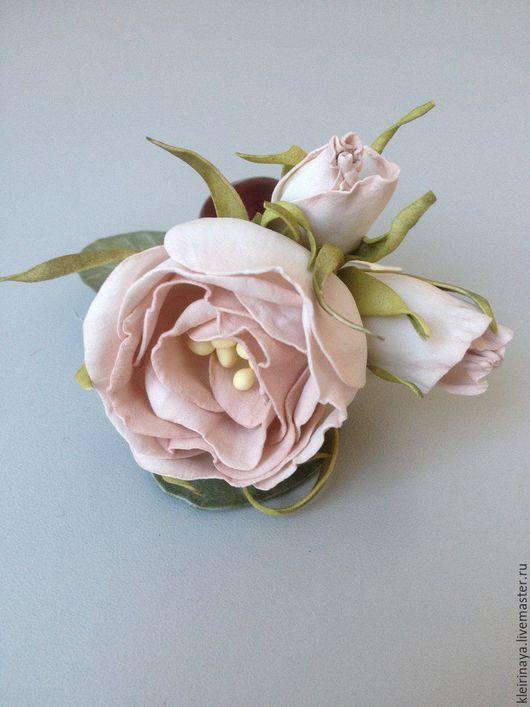 """Свадебные украшения ручной работы. Ярмарка Мастеров - ручная работа. Купить """"Вишневый десерт"""". Handmade. Бледно-розовый, пластичная замша"""