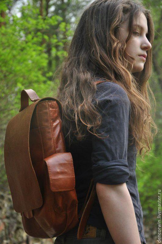 Рюкзаки ручной работы. Ярмарка Мастеров - ручная работа. Купить Рюкзак кожаный. Handmade. Коричневый, рюкзак из кожи, коричневый рюкзак