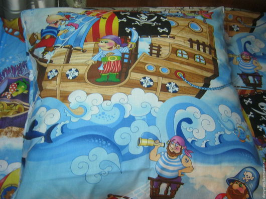 """Текстиль, ковры ручной работы. Ярмарка Мастеров - ручная работа. Купить Детское постельное  бельё """"Пираты"""". Handmade. Голубой, сказка"""