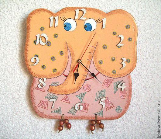 Часы для дома ручной работы. Ярмарка Мастеров - ручная работа. Купить Часы настенные СЛОНИК. Handmade. Бежевый, слоник