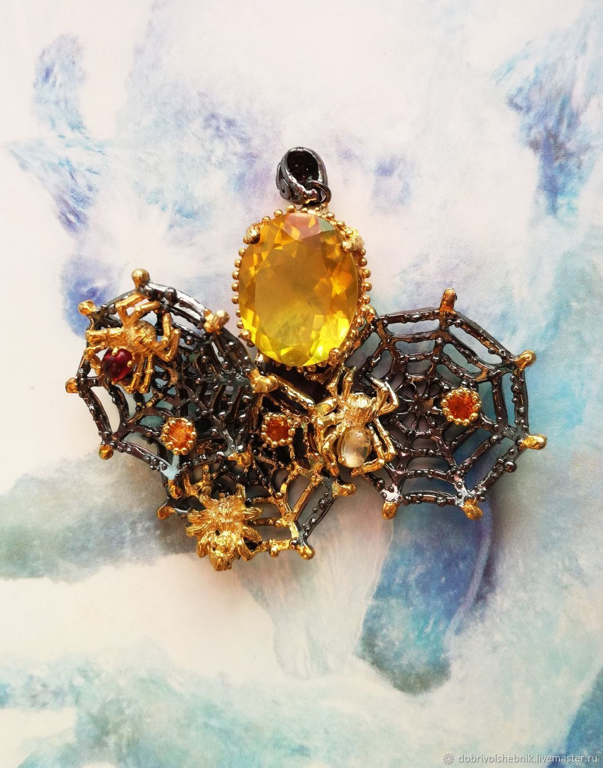 Gold web pendant with Golden citrine, Pendants, Novaya Usman,  Фото №1