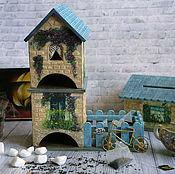 Для дома и интерьера handmade. Livemaster - original item Tea house of the Blue roof of Provence. Decoupage tea house. Handmade.
