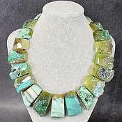Украшения handmade. Livemaster - original item Natural Green Agate Large Necklace. Handmade.