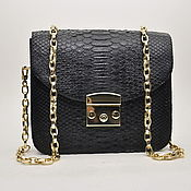 Сумки и аксессуары handmade. Livemaster - original item Classic evening women`s handbag made of Python skin, in black!. Handmade.