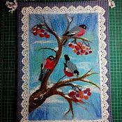 Картины и панно ручной работы. Ярмарка Мастеров - ручная работа Картина из шерсти снегири. Handmade.
