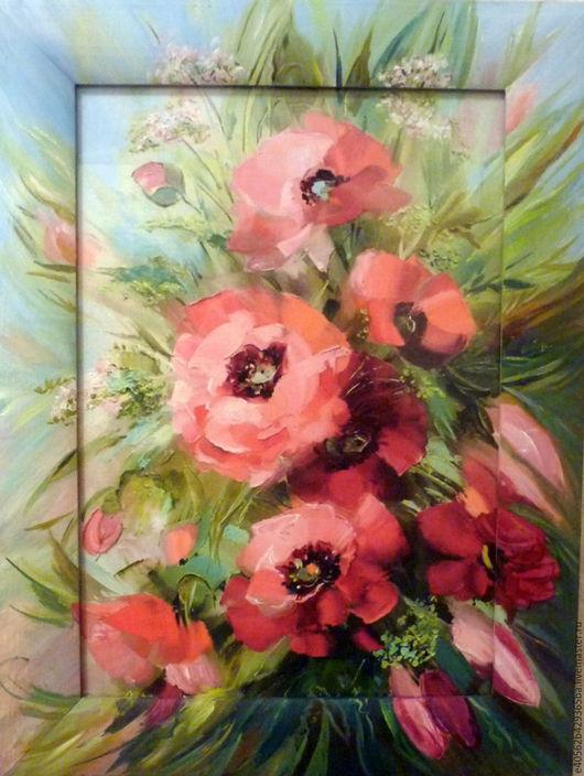 Картины цветов ручной работы. Ярмарка Мастеров - ручная работа. Купить Маки.. Handmade. Розовый, подарок на любой случай, крепление