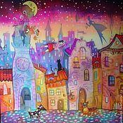 """Для дома и интерьера handmade. Livemaster - original item Silk painting """"Flying over the city."""". Handmade."""