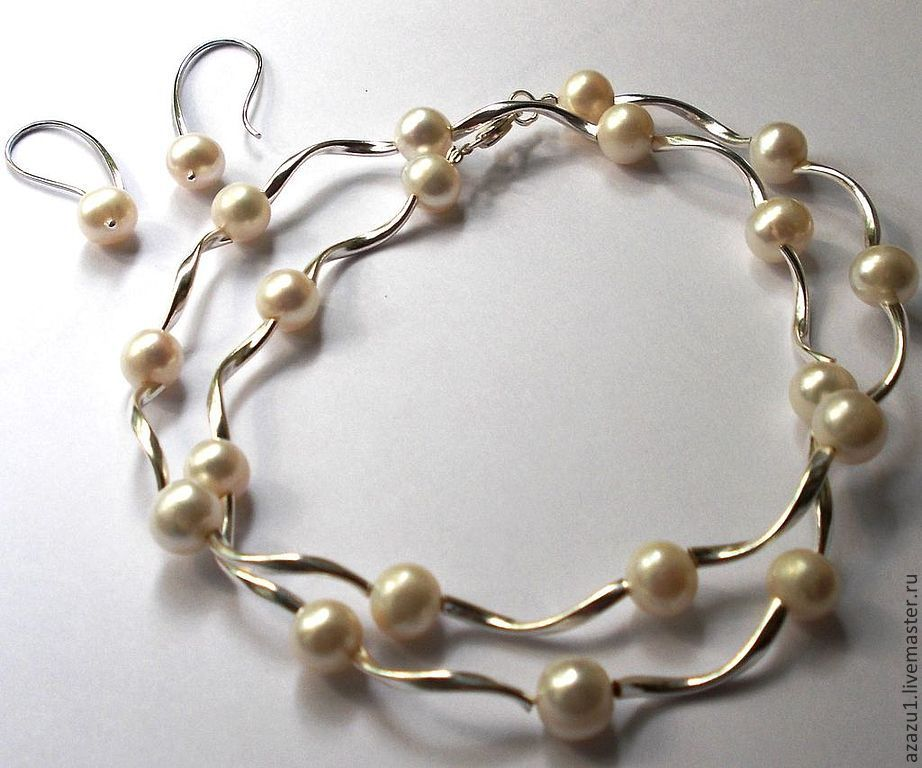 Necklace length 45 media earrings with one pearl