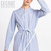 Одежда handmade. Livemaster - original item dresses: Blue striped shirt dress Summer dress. Handmade.