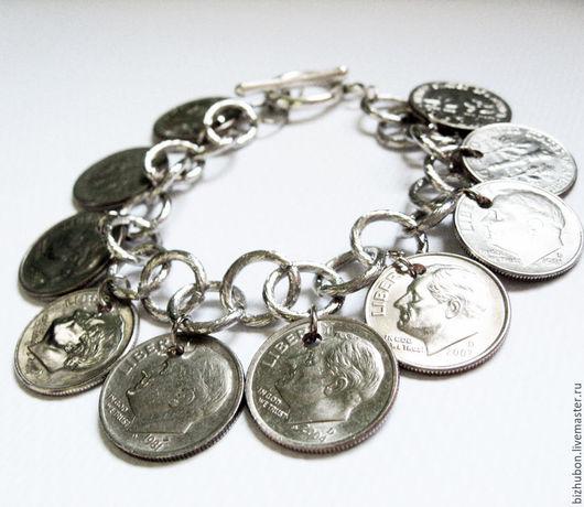 """Браслеты ручной работы. Ярмарка Мастеров - ручная работа. Купить Браслет """"Монеты2"""". Handmade. Серебряный, серебристый браслет, монеты"""