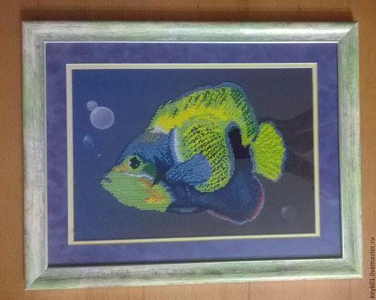 Животные ручной работы. Ярмарка Мастеров - ручная работа. Купить Рыбка. Handmade. Комбинированный, картина для интерьера, вышивка, рыба