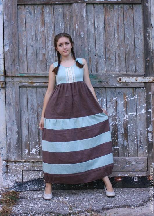 Платья ручной работы. Ярмарка Мастеров - ручная работа. Купить Льняное платье в полоску Арт.08, мятно-коричневое. Handmade.