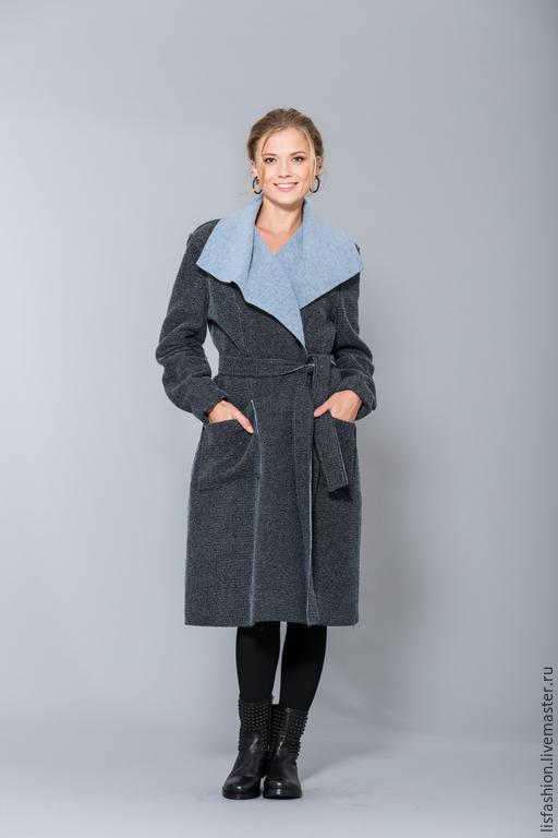 Верхняя одежда ручной работы. Ярмарка Мастеров - ручная работа. Купить Пальто 1525R. Handmade. Синий, пальто женское