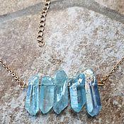 Украшения handmade. Livemaster - original item Mini quartz necklace-BLUE. Handmade.