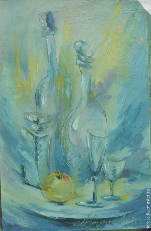 Натюрморт ручной работы. Ярмарка Мастеров - ручная работа. Купить голубой натюрморт. Handmade. Голубой, картина, картина в подарок