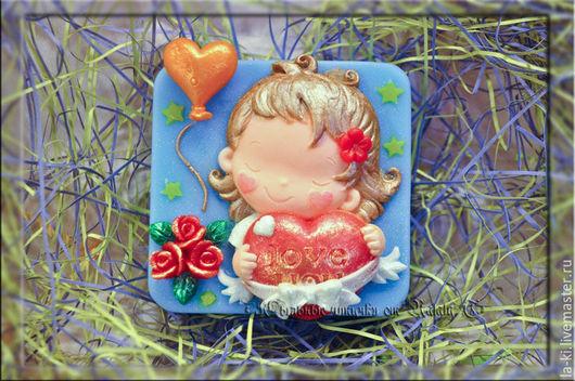 """Мыло ручной работы. Ярмарка Мастеров - ручная работа. Купить Мыло """"Девочка с сердцем"""". Handmade. Комбинированный, 14 февраля"""