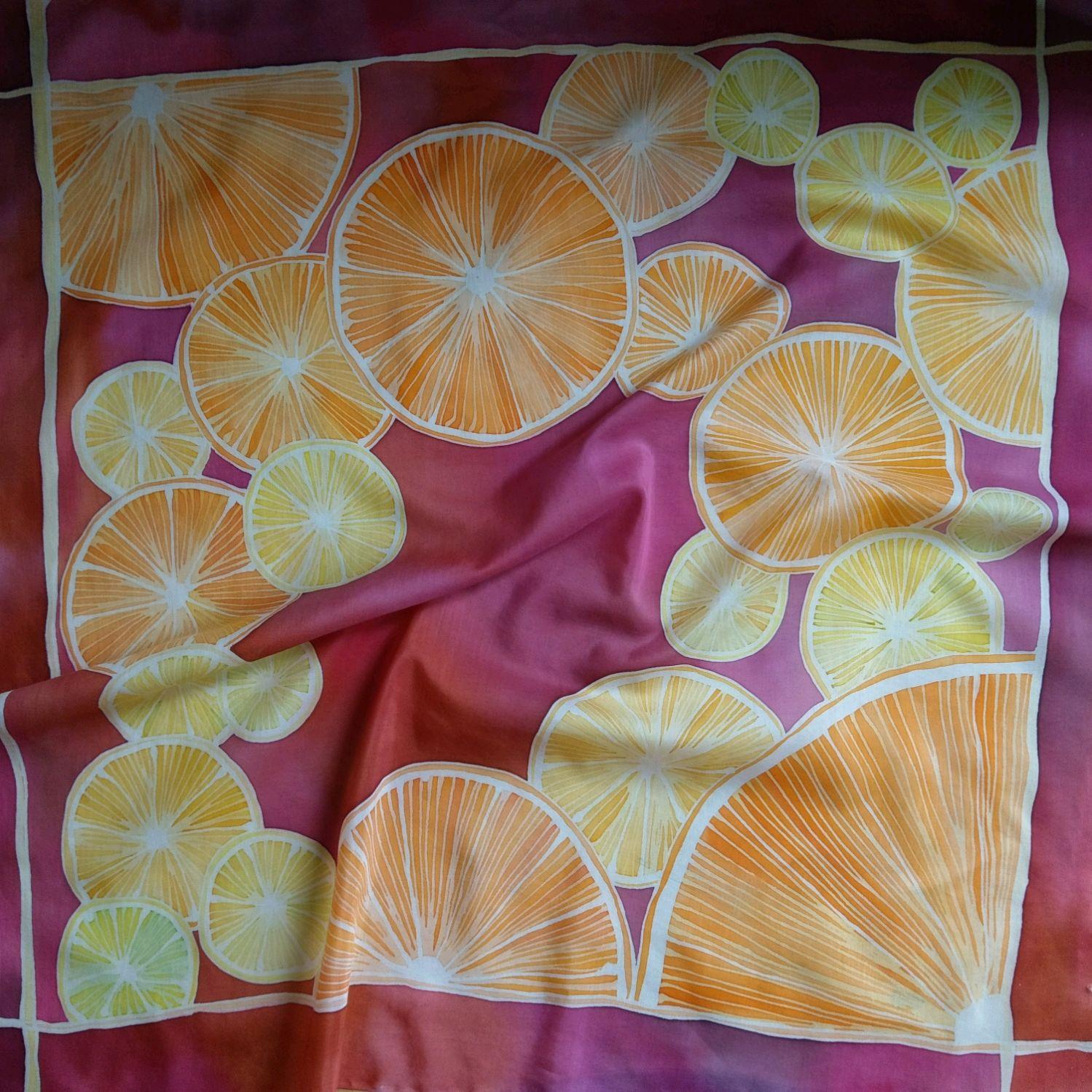 Handkerchief Batik Halves of oranges, Shawls1, Moscow,  Фото №1