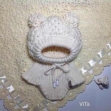 Товары для малышей ручной работы. Ярмарка Мастеров - ручная работа Шапочка-шлем Ариша(молочная). Handmade.
