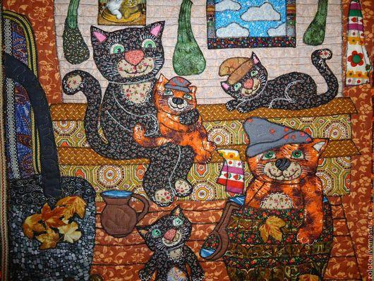 """Животные ручной работы. Ярмарка Мастеров - ручная работа. Купить Панно """" Попаримся? Мяууу"""". Handmade. Панно на стену, деревня"""