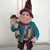Куклы и игрушки handmade. Livemaster - original item Fairy Gnome with an owl .. Handmade.