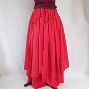 Льняная юбка длинная с клиньями в стиле бохо,алый лен
