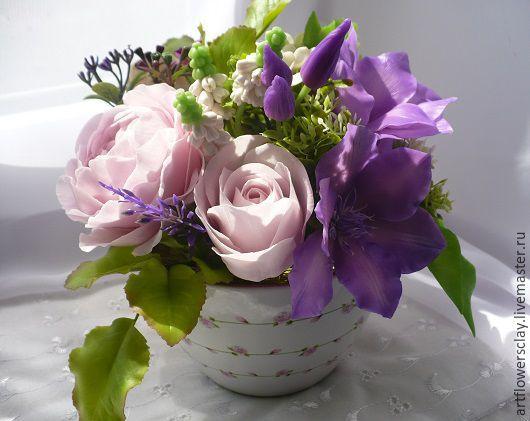 Букеты ручной работы. Ярмарка Мастеров - ручная работа. Купить Букет с английскими розами и клематисами из полимерной глины. Handmade. Букет