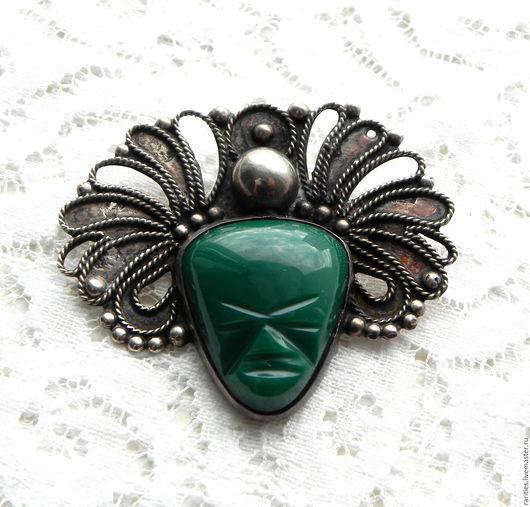 Винтажные украшения. Ярмарка Мастеров - ручная работа. Купить Брошь Ацтекская маска,Мексика,стерлинговое серебро,зелёный оникс,50ые. Handmade.